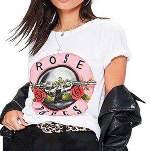 Rose N Roses White Retro Graphic T-Shirt